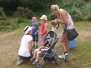 Volunteer Anne Rivett meeting and greeting at the Haddon Hill Big Adventure Day