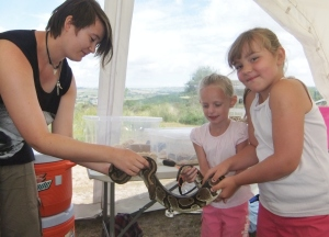 Volunteer Leanna Vaughn, introducing children to 'Phoebe' the royal python