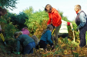 Volunteer Wendy Mills, with a family helping to remove bracken growth from the WWII slip trenches- photo by Aggz Waywell 2013