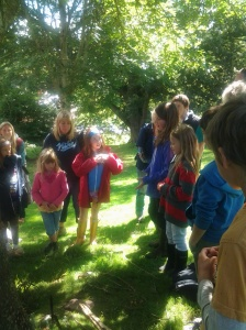 Families learning all about Exmoor, wildlife and conservation on the Exmoor Discovery Week.