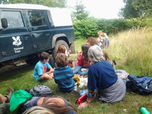 Taking a well-earnt break from bracken bashing with the National Trust!