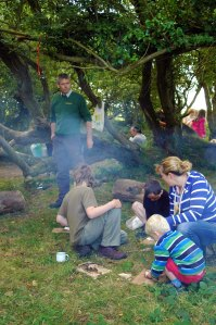 Exmoor National Park's Patrick Watts-Mabbott teaching families bushcraft skills- photo by Aggz Waywell 2013