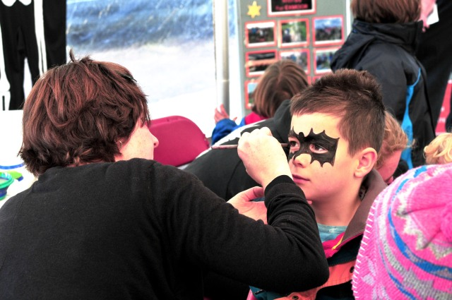 Exmoor Community Youth Club showing off their spooky face painting skills. Photo by Aggz Waywell