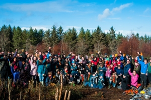 Some of the 120 people who turned up at the 'Bonfires, Baked Potatoes and Butterflies' event.