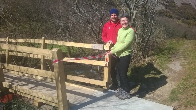 Opening the new bridge at Heddon Valley